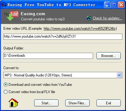 Eusing Free YouTube to MP3 Converter 3.5